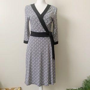 AGB Geometric Print Wrap Dress